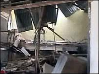 Damage to building in Sumatra
