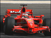 Kimi Raikkonen in the new Ferrari F2007 at testing in Bahrain