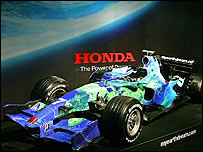 The new Honda Formula One car in its livery promoting environmental issues