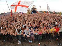 Fans at Glastonbury in 2005