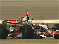 Lewis Hamilton in the McLaren-Mercedes in testing at Bahrain