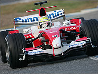 Ralf Schumacher in the new Toyota at Jerez in Spain