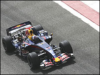 David Coulthard leaves the Bahrain pit lane in the new Red Bull