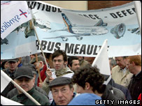 Airbus workers in Meaulte, northern France, protest about job cuts