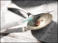 Syringe and heroin: Picture Science Photo Library