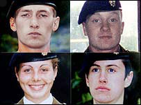 Four recruits who died at Deepcut barracks
