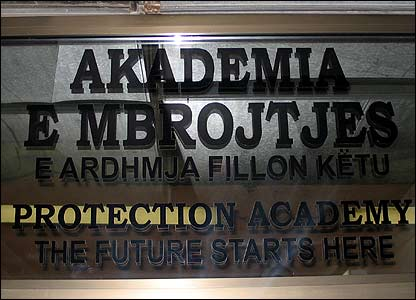 The sign above the academy's entrance