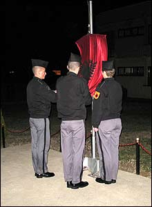 Cadets lower the flag in the daily 1800 ceremony