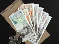 Wage packet with cash
