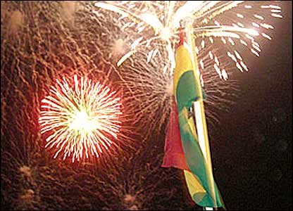 Ghana flags and fireworks
