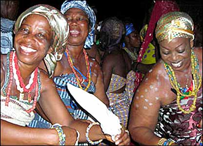 Women dance during celebrations in Ghana