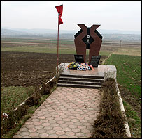 Monument to dead KLA fighter on road from Pristina to Mitrovica