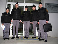 Cadets outside the American University in Kosovo