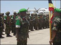 Ugandan troops at Mogadishu airport