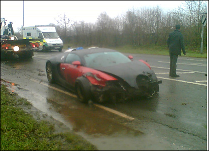Scene of Bugatti Veyron crash