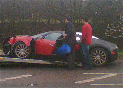 Bugatti being loaded onto recovery vehicle