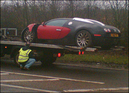Bugatti on recovery vehicle