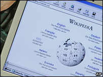 A computer showing Wikipedia's home page