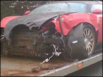 Picture of crashed Bugatti contributed by Chris Brightwell