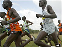 Kenyans training for the World Cross Country Championships