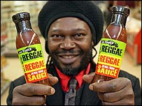 Levi Roots with his sauce