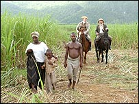 Scene of a slave family in Jamaica from BBC drama Breaking the Chains