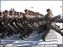 North Korean soldiers on parade (file image)