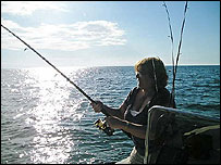 Mary Cook shark fishing in Florida