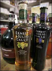 Ernest and Julio Gallo wine bottles