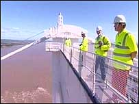 Engineers on top of the Old Severn Bridge