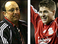Liverpool boss Rafael Benitez and captain Steven Gerrard