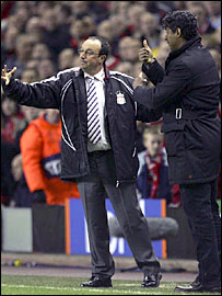 Liverpool boss Rafael Benitez and Barca counterpart Frank Rijkaard