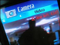 Mobile phone screen showing video camera