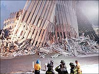 Ground Zero after the collapse of the Twin Towers