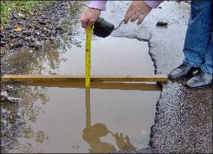 Measuring a pothole in Wells, Somerset. By Colin Williams