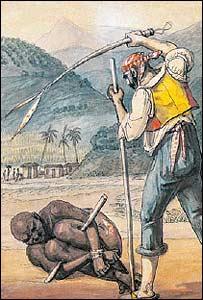 Pintura de Jean Baptiste Debret que muestra el castigo de un esclavo (Gentileza: Museo Afro de Sao Paulo)