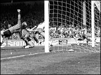 George Reilly scores the winner against Plymouth at Villa Park