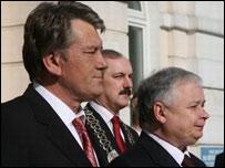 Ukraine's Viktor Yushchenko and Poland's Lech Kaczynski