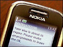 Text message visa reminder