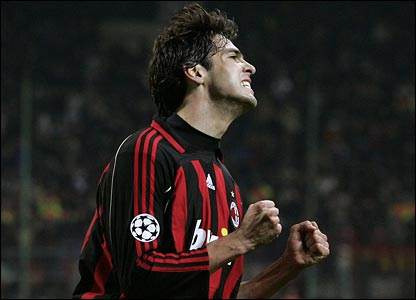 AC Milan's Kaka reacts to a missed chance
