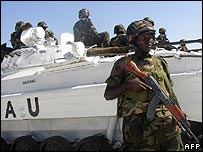 Ugandan troops of the African Union at their base in Mogadishu