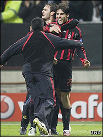 Kaka celebrates his extra-time goal against Celtic at the San Siro