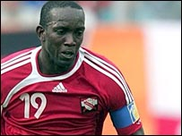 Dwight Yorke in action for Trinidad & Tobago
