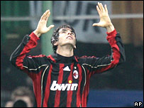 Kaka celebrates his winning goal