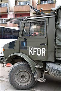 Belgian K-For armoured lorry parked in south Mitrovica, just behind the bridge