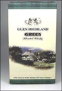 Glen Highland Green, a bogus Chinese product which purported to be scotch whisky