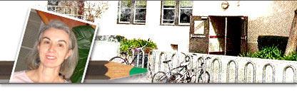 Diseño con la imagen de Pía Prieto y el edificio de la escuela