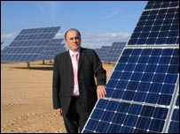 Mayor with solar panel
