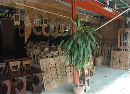 Burmese furniture being sold in a Mae Sot shop