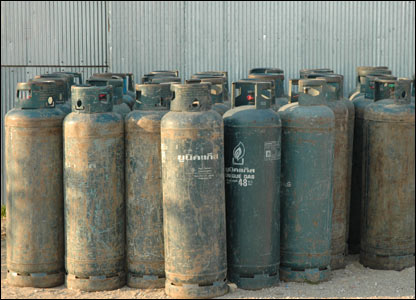 Fuel canisters destined to go over the river to Burma